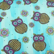 Blank Quilting ~ MANDALA TANGO HOPE YODER BLUE OWLS 100% Cotton Craft Quilting Fabric