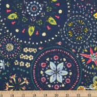 Free Spirit Land Art, Fairy Circles Navy Cotton Clothing Quilting Fabric