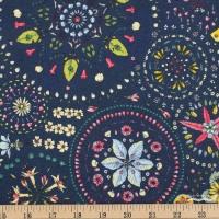 Free Spirit Land Art, Fairy Circles Navy Cotton Clothing Quilting Fabric