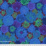 Kaffe Fassett Dancing Dahlias - Blue Cotton Dress Quilt Fabric