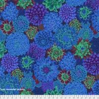 Kaffe Fassett Dancing Dahlias - Blue Cotton Dress Quilt Fabric