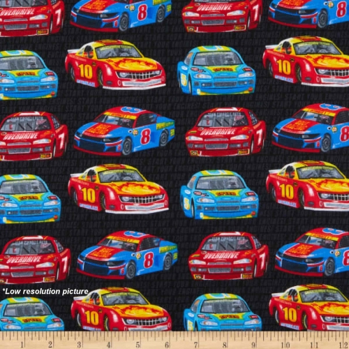 Henry Glass Start Your Engines Race Cars Black Cotton Quilting Fabric