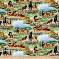 Elizabeth Studio Wildflower Trails Horses Scenic Multi Cotton Quilting Fabric
