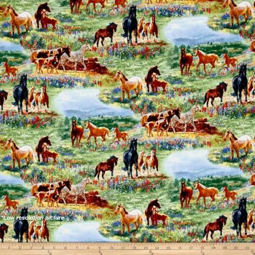 Elizabeth Studio Wildflower Trails Horses Scenic Multi Cotton Quilting Fabric