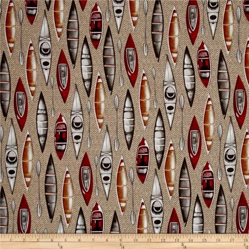 Kanvas North By Northwest Herringbone Kayak Khaki Cotton Quilting Fabric