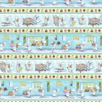 Timeless Treasures Mouse Pastry Chef Stripe Cakes Cotton Quilting Fabric