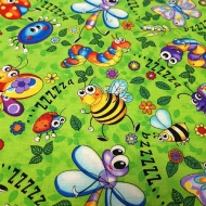 Childrens Butterfly Bees Happy Insects Cotton Quilting Clothing Fabric