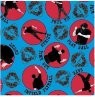 Hit Run Score Baseball Blank Quilting Clothing Craft Cotton Fabric