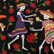 Skeleton Fun Print Patchwork Clothing Backing Quilting Craft 100% Cotton Fabric