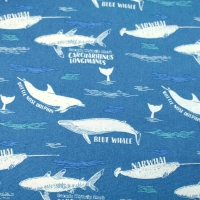 Natural History Museum Whales Clothing Craft Quilting Backing Cotton Fabricg Backing Cotton Fabric
