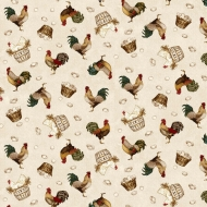 Henry Glass Count Your Blessings Roosters & Hens Cotton Quilting Craft Fabric
