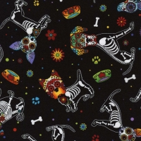 Day of the Dead Pups Cotton Quilt Fabric 100% Cotton Quilting Fabric