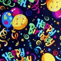 Happy Birthday By Hi-Fashion Fabrics Balloons Stars Ribbons 100% Cotton Quilting Fabric