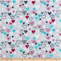 Kanvas Knit Together Hearts Gray 100% Cotton Quilting Fabric