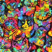 Timeless Treasures Colourful Painted Cats 100% Cotton Craft Quilting Fabric