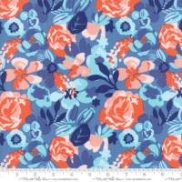 Moda VOYAGE Baltic Blue Floral Cotton Quilting Craft clothing Fabric FQ, meter or half-meter
