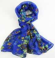 Warm, soft women's floral print scarf BLUE