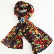 Warm, soft women's floral print scarf BROWN