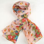 Warm soft women's floral print scarf LIGHT PINK