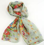 Warm soft women's floral print scarf PALE GREEN