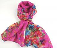 Warm, soft women's floral print scarf PINK