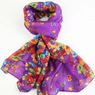 Warm soft women's floral print scarf PURPLE