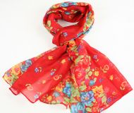 Warm, soft women's floral print scarf RED