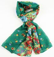 Warm soft women's floral print scarf TURQUOISE