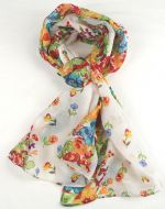 Warm soft women's floral print scarf WHITE