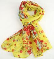 Warm soft women's floral print scarf YELLOW