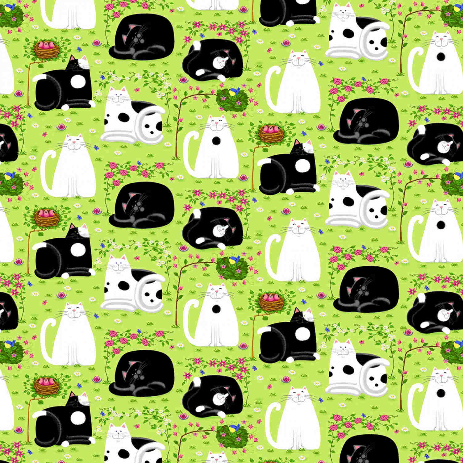 Day Dreamers Lemon Grass Cat Dreamers By Henry Glass Cotton Quilting Fabric